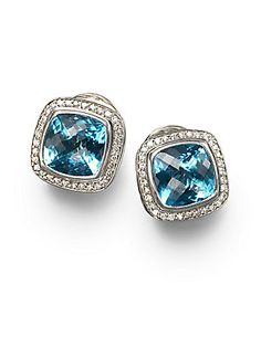 David Yurman Blue Topaz, Diamond & Sterling Silver Button Earrings