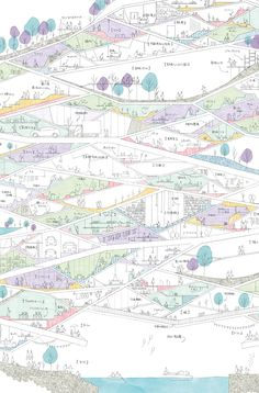 ケンチクイラストレーター、イスナデザイン 『斜めのまち』 #街 #建築 #パース #イラスト #デザイン #illustration #perspective #isnadesign #landscape #design