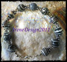 Beautiful Handmade Silver Bracelet with Striped Gemstones by IreneDesign2011