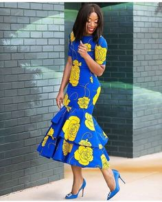 African print dress Midi dress with triple flare/Ankara/African Clothing/African Fashion/Ankara Clothing/Cut out/kente This Stylish African print dress Midi dress with triple flare is ideal for every occasion. African Fashion Ankara, African Fashion Designers, Latest African Fashion Dresses, African Dresses For Women, African Print Dresses, African Print Fashion, African Attire, African Wear, African Style