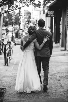 Bride and groom walking through the streets in Brooklyn, NY after their wedding ceremony!  Photo by Aaron Nicholas Photography, Charleston, SC wedding photographer
