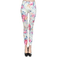 White Fancy Ladies Roses Printed Floral Classic Leggings ($13) ❤ liked on Polyvore featuring pants, leggings, bottoms, floral, white, dressy pants, floral printed pants, white trousers, white pants and fancy leggings
