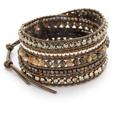 Chan Luu Beaded Wrap Bracelet (910 RON) ❤ liked on Polyvore featuring jewelry, bracelets, abalone mix, beaded wrap bracelet, beading jewelry, button jewelry, chan luu and chan luu jewelry