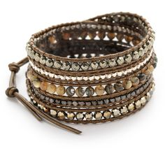 Chan Luu Beaded Wrap Bracelet (910 RON) ❤ liked on Polyvore featuring jewelry, bracelets, abalone mix, beaded wrap bracelet, beading jewelry, button jewelry, chan luu and chan luu jewelry