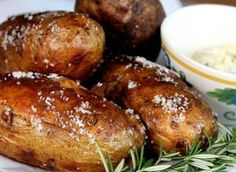 Salt Baked Potatoes with Roasted Garlic