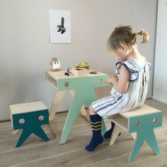 Lovely Walrusfamily by Nimio lab, made with a lot of love by hand in Spain. Kids table and stools in colors by the sea. Available in shop.