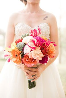 Colorful Bouquet of Peonies & Poppies | Wedding Flowers