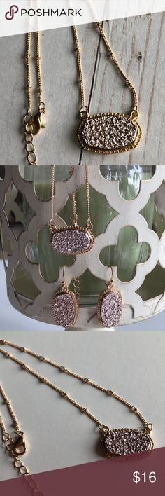 "🆕Champagne Druzy Gold Pendant Necklace! Gorgeous Sparkling Champagne Druzy Gold Pendant Necklace! Spring Clasp Closure; 📸These are my pics of the actual item you will receive! Stock photo used to show worn! 🛍Bundle with Matching Earrings & Save!  * Pendant 1""↔️, 0.6""↕️ * Chain Length: 16"" with 3"" Extender  * Faux Druzy Stone on Gold Plating * Nickel, Lead & Cadmium Free * Also Available in Black!  *NO TRADES *Prices are FIRM-Listed at Lowest Price Unless BUNDLED! *Sales are Final-Please…"
