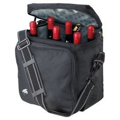 """Perfect for cheese tastings and date nights, this delightful design is a sophisticated addition to your table.   Product: Wine bagConstruction Material: Insulated nylongColor: BlackFeatures:  Ice pack includedHolds six standard size bottlesAdjustable pouches and shoulder strap Dimensions: 12"""" H x 12"""" W x 7"""" D"""