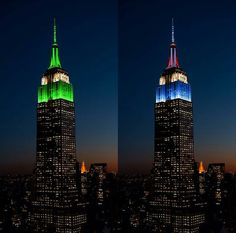 The Empire state building lit up in NY Jets and NY Giants colors.