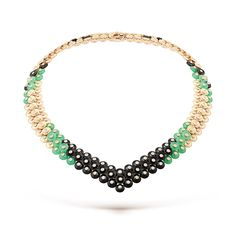 VAN CLEEF & ARPELS Bouton d'or™ Collection necklace, yellow gold, chrysoprase, onyx, round diamonds (=)