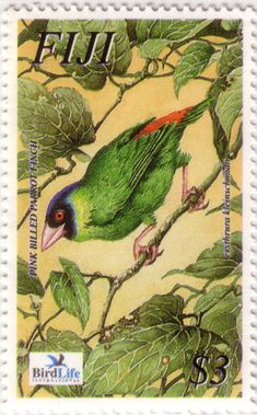 Flora - Fauna on stamps: Endangered bird of Fiji, Pink-billed parrotfinch