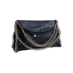 Retro Style Chain Detailed Black Bag ($57) ❤ liked on Polyvore