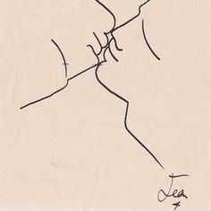 "Jean Cocteau, ""Mon James, il y a en lutte"" (detail), c. 1951, ink on paper. This kiss was drawn on the back of a letter, in poem form, to someone named James. To be exhibited by Monroe Warshaw during Master Drawings New York. #MDNY #MasterDrawingsNewYork #Cocteau #MonroeWarshaw"