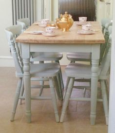 Wooden Farmhouse Table and 4 Chairs Hand Painted in Laura Ashley Light Duck Egg   eBay
