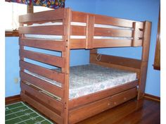 Sturdy solid wood bunk beds with bookcases and drawers. Various sizes available. Custom built by hand. You choose the best finish and options for your room.