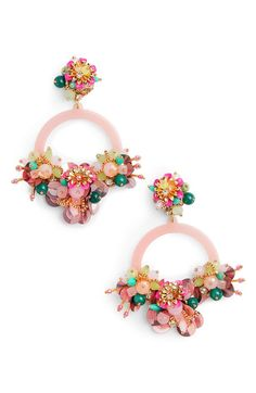 Ponk floreer earrings, floral earrings, pink hoop earrings