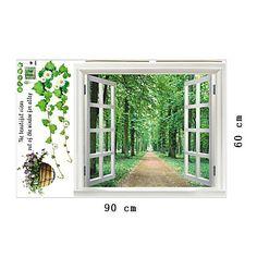 ventana natural de etiquetas de la pared paisaje etiqueta de la pared del pvc – USD $ 12.99