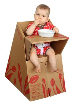 A cardboard foldable recyclable baby feeding chair. - A cardboard foldable recyclable baby feeding chair. looks like we won't need to buy a high chair! Cardboard Furniture, Kids Furniture, Cardboard Chair, Portable High Chairs, Baby Feeding, Wooden Toys, Toy Chest, Diy Crafts, Cool Stuff