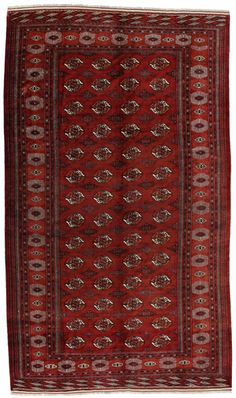 Bokhara Carpets: The Bokhara carpets are woven in Belutchistan and in different regions of Uzbekistan, Turkmenistan and Afghanistan. Turkmen carpets include Basjir, Salor, Tekke-Bochara, Jolam-Bocharaband, Ersari, Tjaudor and Yomut which are examples of the carpet style called Bokhara.   The deep red and the whole range of red from purple to brown are the dominant colors with repeating octagons, rhombi, yomut motifs being