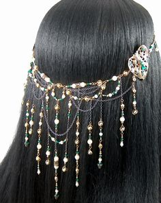 Edalene - Elven Queen Bridal Ivory Pearl Emerald Golden Renaissance Circlet/Headpiece