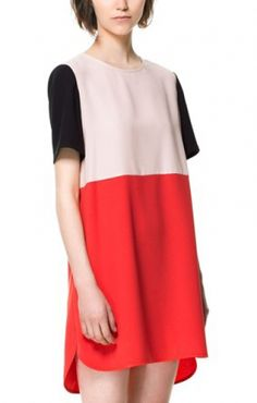 Color Block O-neck Chiffon Short Sleeves Shift Dress