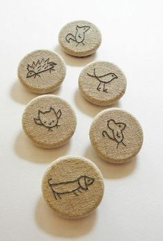 little critter brooches, hand embroidery on linen by edwardandlilly,