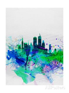 Boston Watercolor Skyline Prints by NaxArt at AllPosters.com