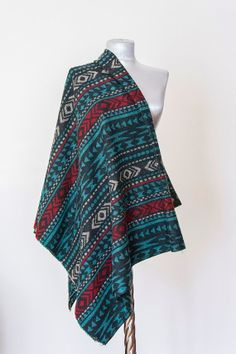 Scarf - Handmade Tribal Ethnic Blanket Scarf - Cotton - Teal Green Black Red  Cream- Winter Autumn Scarf - Men Women Unisex XXL Scarf