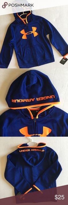 🆕 Under Armour Blue & Orange Hoodie NWT - Just in time for back to school.  This hoodie is warm and cute!  Size - 4, 5 and 6 Under Armour Shirts & Tops Sweatshirts & Hoodies