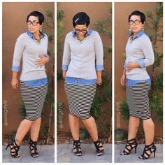 OOTD: DIY Pencil skirt, #Gap Sweater, #F21 Denim Shirt + #Aldo Heels You know when @mimig rocks it, it's legit!