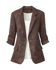 Foil printed tweed jacket