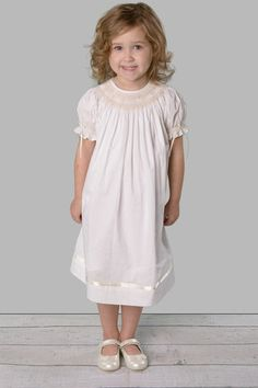 Girl&-39-s Heirloom Dress in White With Ecru Embroidery by Rosalina ...