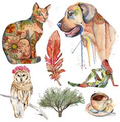 Image result for mixed media watercolour and ink online course animals