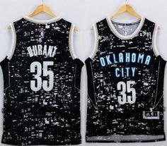Thunder #35 Kevin Durant Black City Light Stitched NBA Jersey