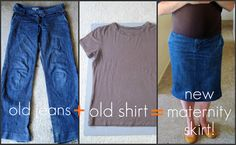 Old Jeans into Jean Skirt; (maternity diy, but could also work for a regular skirt)
