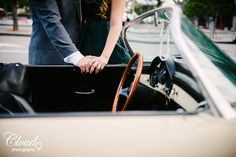 Let's take a drive, see where the wind takes us ✨ How cool is this groom's vintage Porsche? Such an awesome edition to their Downtown Los Angeles engagement shoot. Couple that with the city skyscrapers and you've got a recipe for some seriously stunning photos! Not to mention this pretty bride-to-be's ring! 😍 To die for! Winter vintage/classic engagement session in Downtown LA, CA.  • • • • •  www.LoveCloud9.com #LoveCloud9 #Cloud9Brea #Cloud9Photography