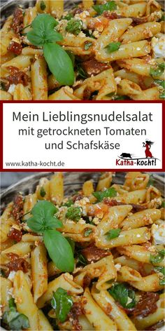 Nudelsalat mit getrockneten Tomaten und Schafskäse This pasta salad with dried tomatoes and feta cheese has been my absolute favorite […] Summer Pasta Salad, Summer Salads, Pork Recipes, Snack Recipes, Cooking Recipes, Eggplant Dishes, Pasta Salad Recipes, Food Salad, Dried Tomatoes