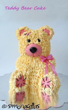 Teddy Bear Cake (with tutorial) - simonacallas Build A Bear Birthday, Build A Bear Party, Kylie Birthday, Birthday Party Themes, Birthday Cakes, Birthday Ideas, Small Teddy Bears, Teddy Bear Cakes, Sculpted Cakes