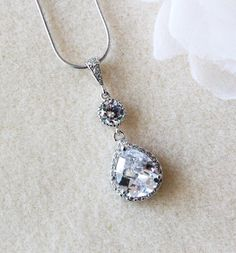 Crystal Bridal Necklace Wedding Jewelry Crystal Wedding Necklace Cubic Zirconia Teardrop Crystal Necklace Bridal Jewelry