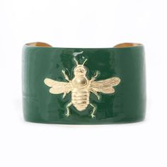 Cuff Bracelet - Kelly Green Bee