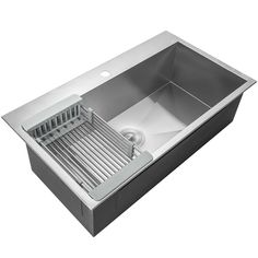 x Drop-In Top Mount Stainless Steel Single Bowl Kitchen Sink w/ Adjustable Tray and Drain Strainer Kit - Modern Top Mount Kitchen Sink, Single Bowl Kitchen Sink, Kitchen Cupboards, Kitchen Storage, Kitchen Sinks, Kitchen Islands, Kitchen Organization, Classic Kitchen, Stylish Kitchen