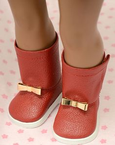 """Shoes Fit American Girl 18"""" Doll Red Boots with Bow Buckle 