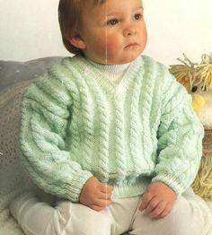 Tejer patrón Baby Sweater, Jumper, Pull Over, tamaño 16ins-22ins, hilado DK, No.0339 PDF PDFPattern TimelessOne tienda de