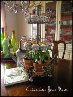 Peter Rabbit Birthday Party, Southern Living/Ballard Designs 3-tiered basket @ Chickadee Home Nest.