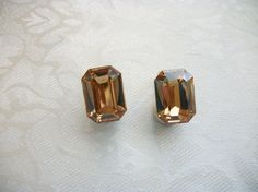 SOLD - Vintage Large Gold Rhinestones Goldtone by PhylmasFabulousFinds, $20.00 - SOLD