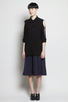 Totokaelo - Yohji Yamamoto - Shoulder Slit Cuff Blouse - Black