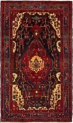 Black 4 x 3 Nahavand Persian Rug Persian Carpet, Persian Rug, Asian Rugs, Buy Rugs, Wool Area Rugs, Hand Knotted Rugs, Textile Art, Rugs On Carpet, Primary Colors