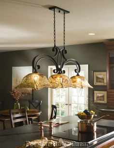 French country bronze amber art glass kitchen island light old world tuscan 3 light kitchen island chandelier bronze finish mozeypictures Image collections