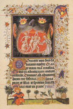 Hours of Catherine of Cleves, Duchess of Guelders (1417-1476). angel leading figures out of the mouth of Hell.
